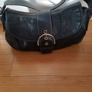 Coach black hobo Soho buckle bag with white stitch